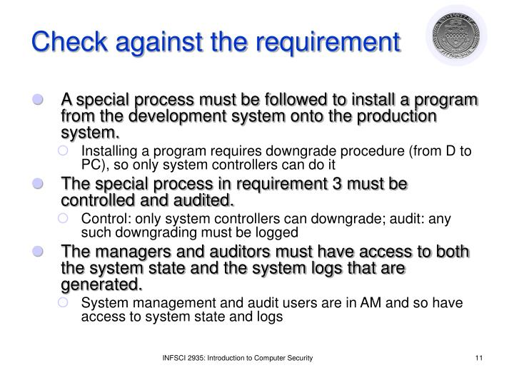 Check against the requirement