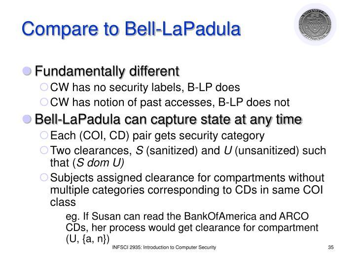 Compare to Bell-LaPadula