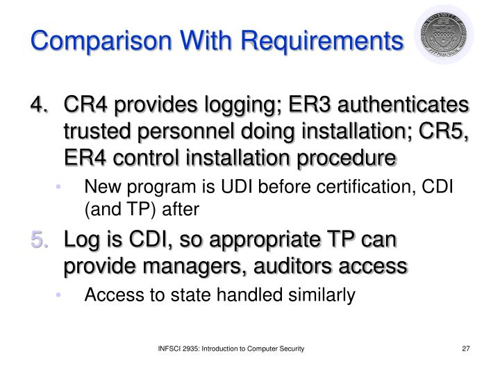 Comparison With Requirements