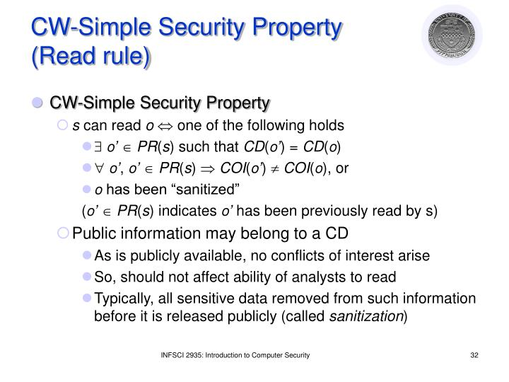 CW-Simple Security Property