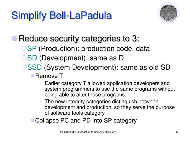 Simplify Bell-LaPadula