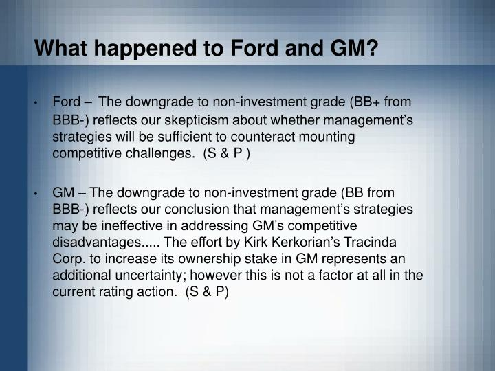 What happened to Ford and GM?