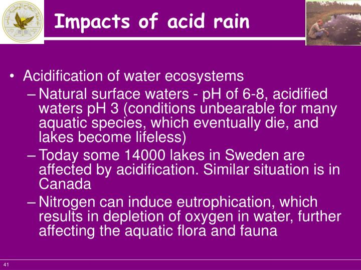 Acidification of water ecosystems