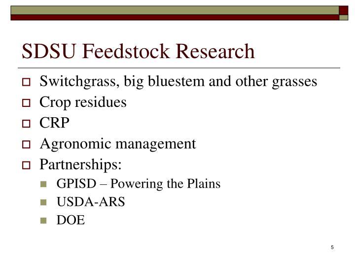 SDSU Feedstock Research