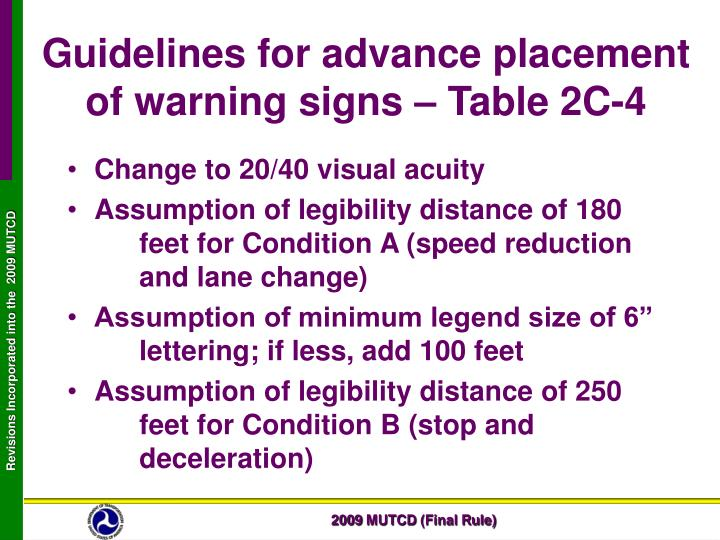 Guidelines for advance placement of warning signs – Table 2C-4