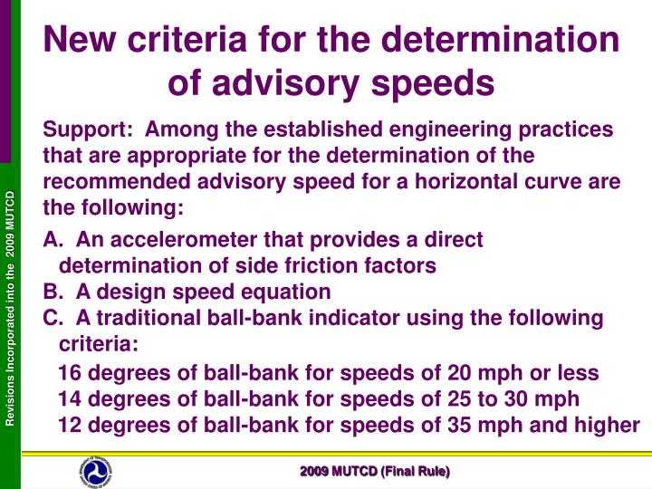 New criteria for the determination of advisory speeds