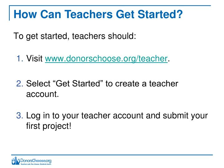 How Can Teachers Get Started?