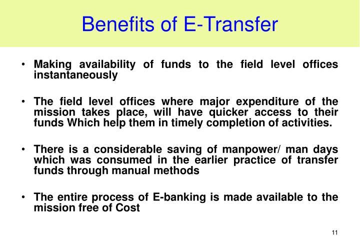 Benefits of E-Transfer