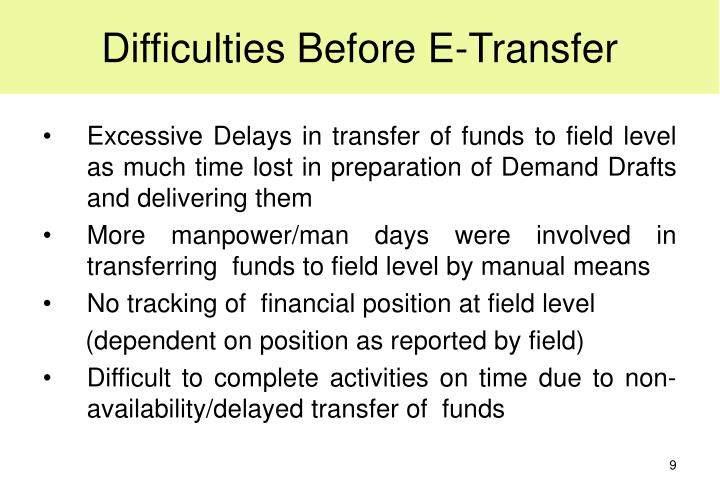 Difficulties Before E-Transfer
