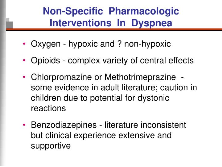 Non-Specific  Pharmacologic Interventions  In  Dyspnea