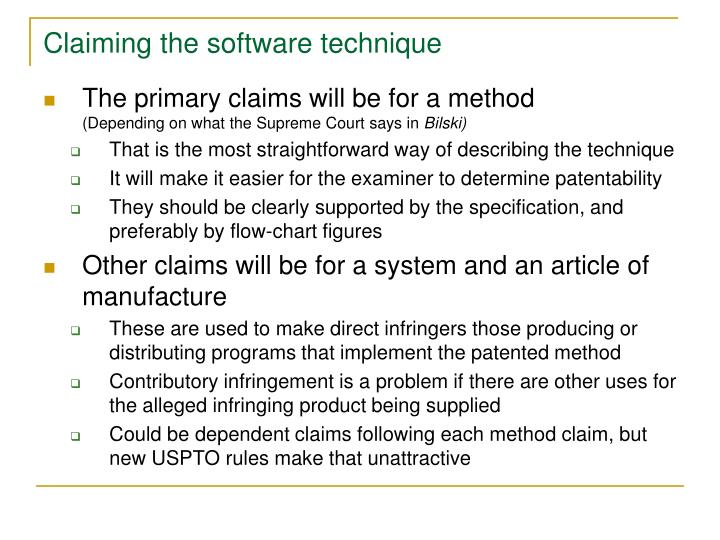 Claiming the software technique