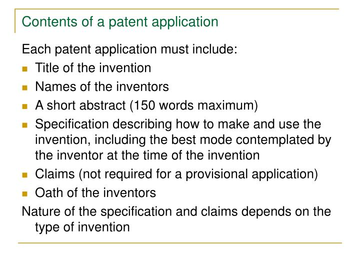 Contents of a patent application
