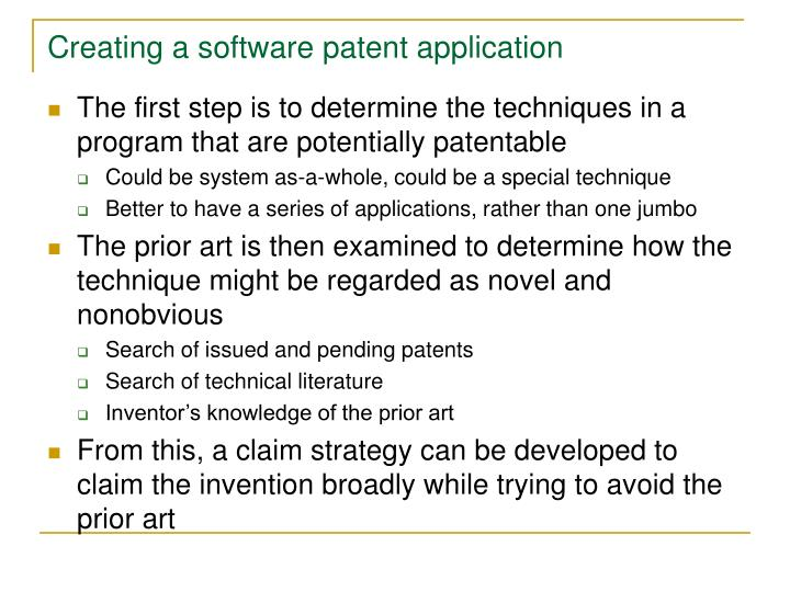 Creating a software patent application