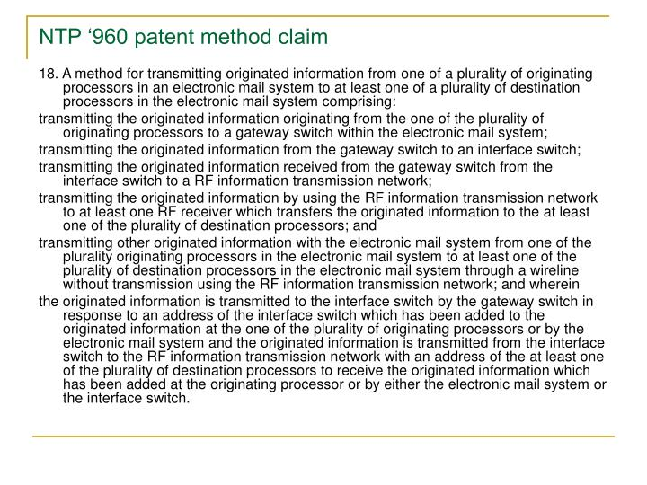 NTP '960 patent method claim