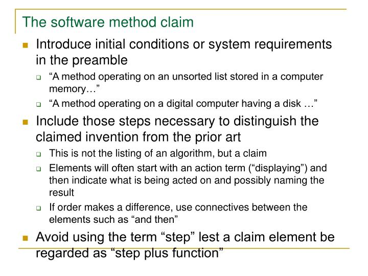 The software method claim