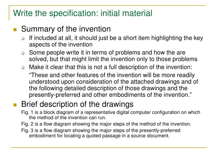 Write the specification: initial material