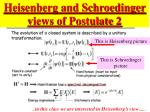 heisenberg and schroedinger views of postulate 2