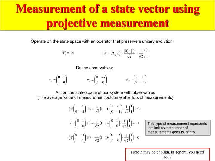 Measurement of a state vector using  projective measurement