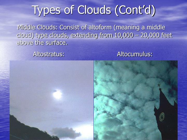 Types of Clouds (Cont'd)
