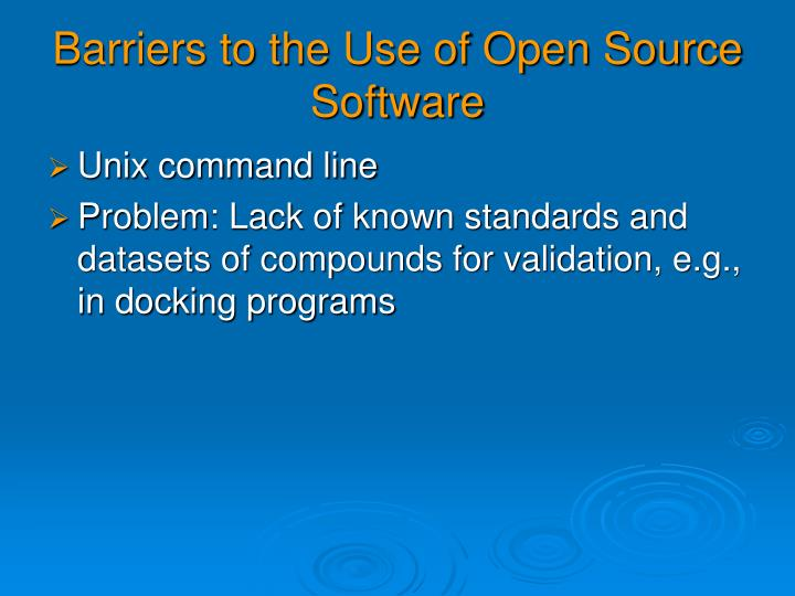 Barriers to the Use of Open Source Software