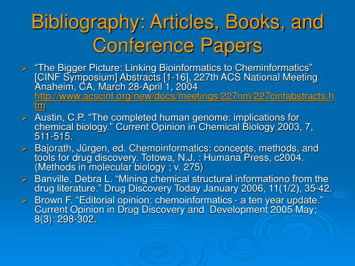 Bibliography: Articles, Books, and Conference Papers