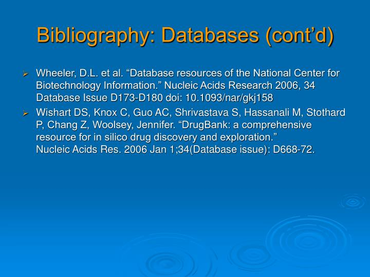 Bibliography: Databases (cont'd)