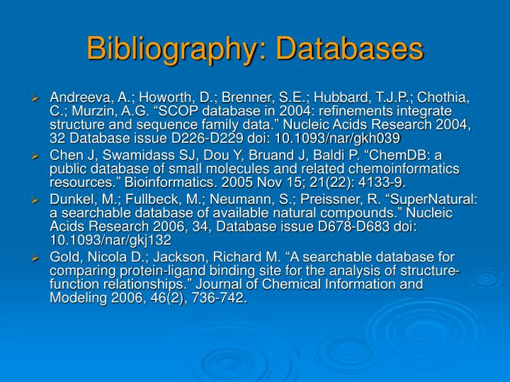 Bibliography: Databases