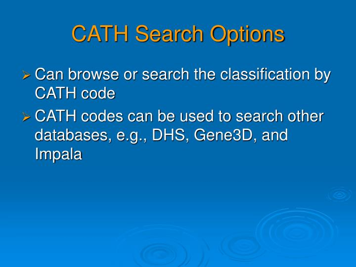 CATH Search Options