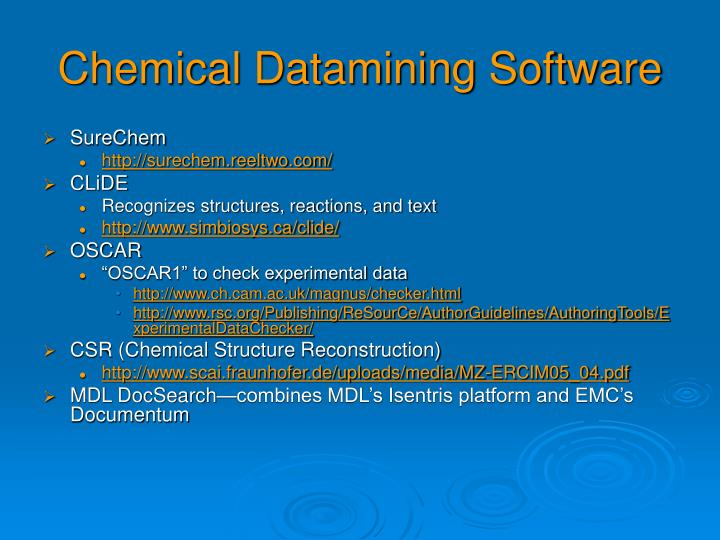 Chemical Datamining Software
