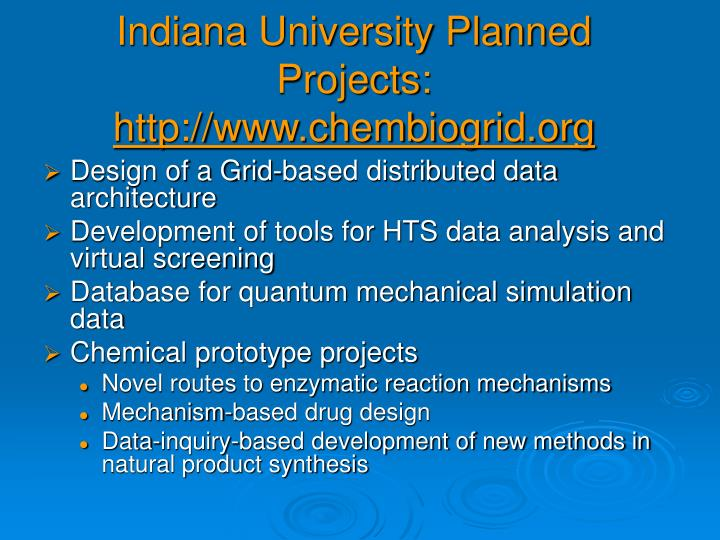 Indiana University Planned Projects:
