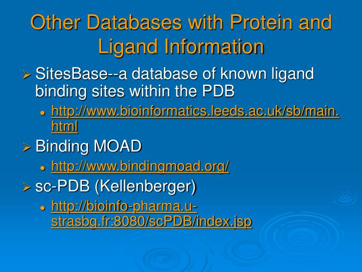 Other Databases with Protein and Ligand Information