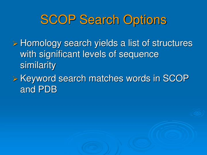 SCOP Search Options