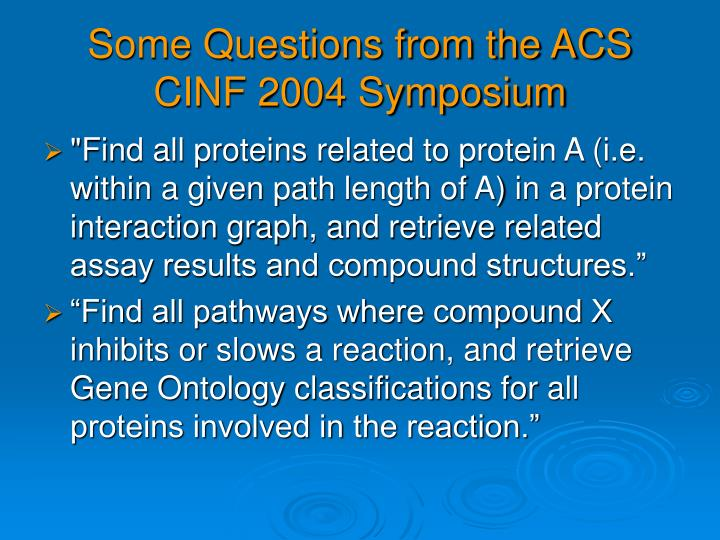 Some Questions from the ACS CINF 2004 Symposium