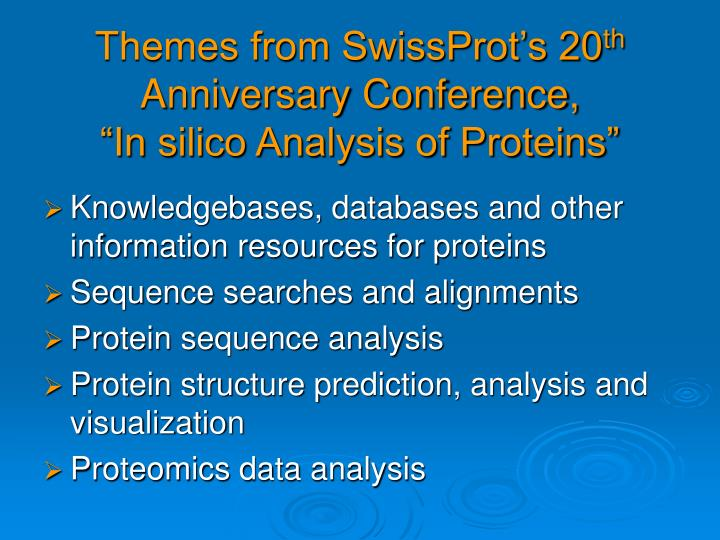 Themes from SwissProt's 20