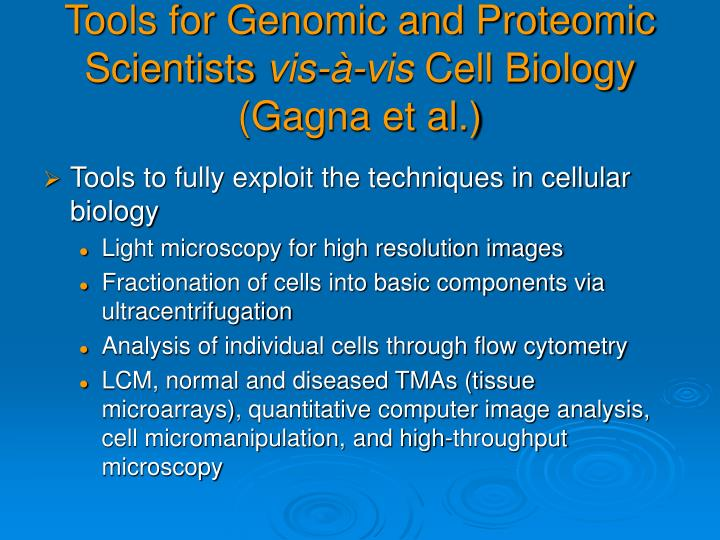 Tools for Genomic and Proteomic Scientists