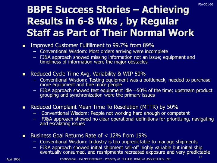 BBPE Success Stories – Achieving Results in 6-8 Wks , by Regular Staff as Part of Their Normal Work