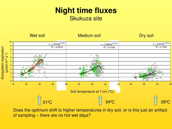 Night time fluxes