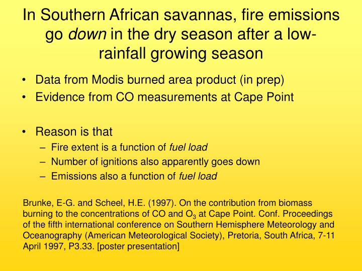 In Southern African savannas, fire emissions go