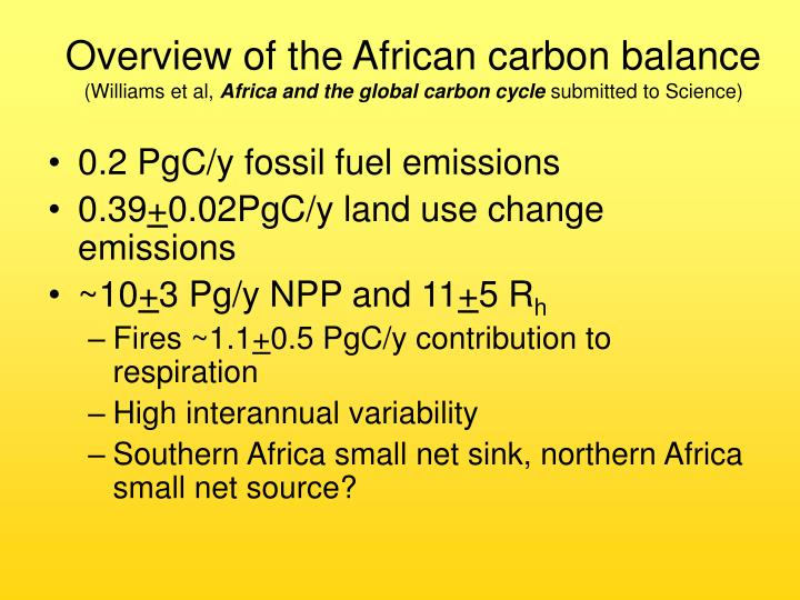 Overview of the African carbon balance