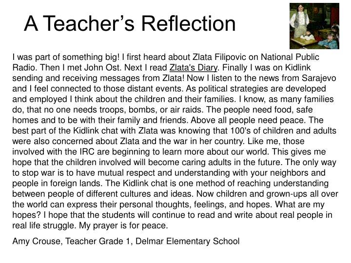 A Teacher's Reflection