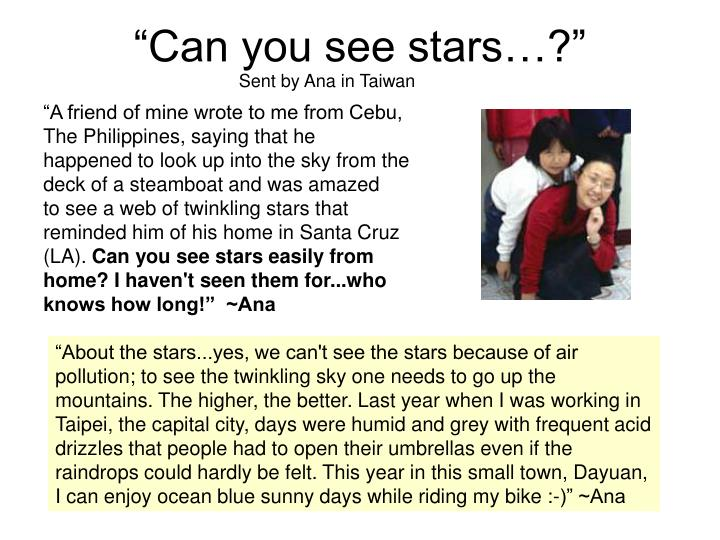 """""""Can you see stars…?"""""""