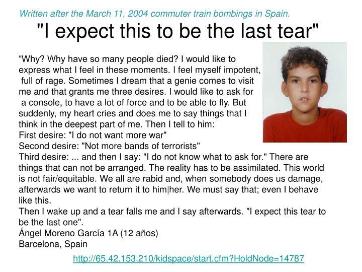Written after the March 11, 2004 commuter train bombings in Spain.