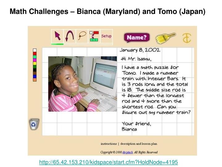 Math Challenges – Bianca (Maryland) and Tomo (Japan)