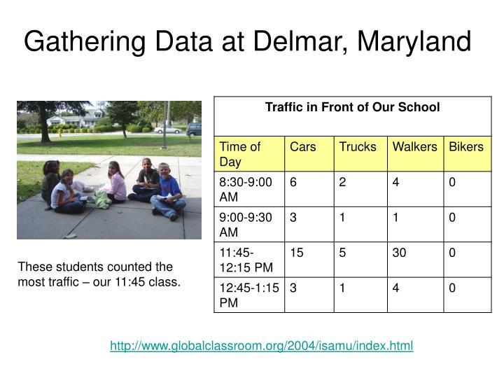 Gathering Data at Delmar, Maryland