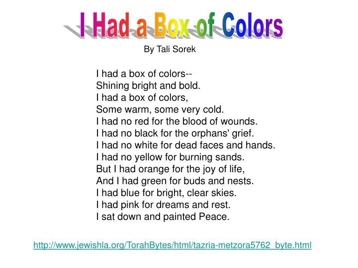 I Had a Box of Colors