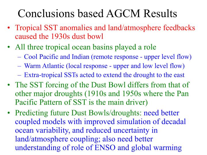 Conclusions based AGCM Results