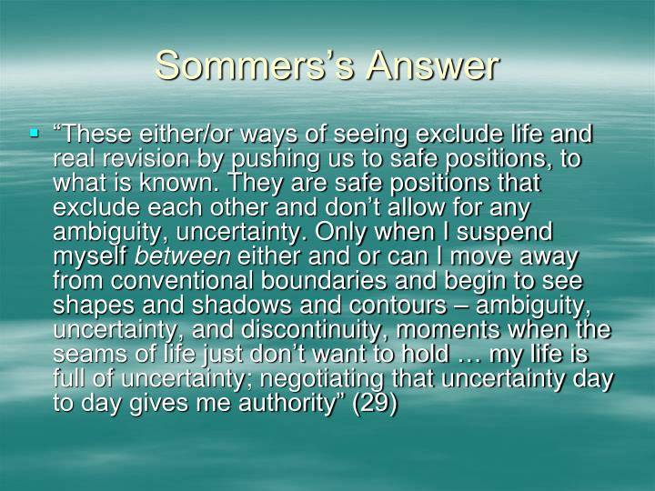 Sommers's Answer