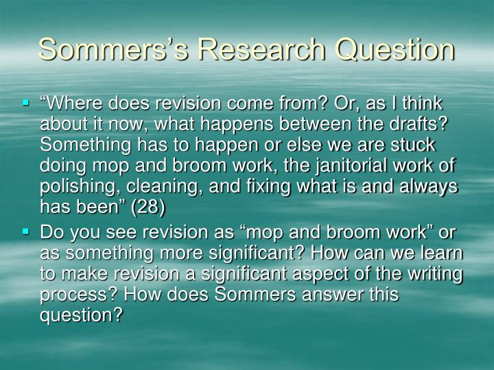Sommers's Research Question