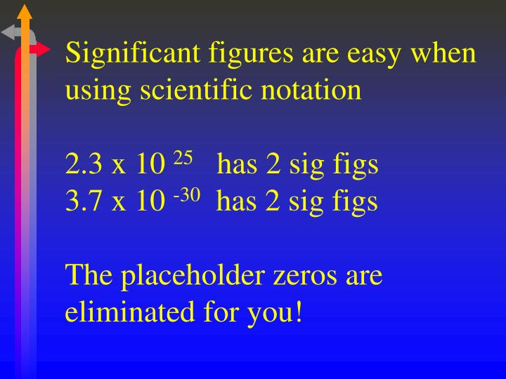 Significant figures are easy when using scientific notation