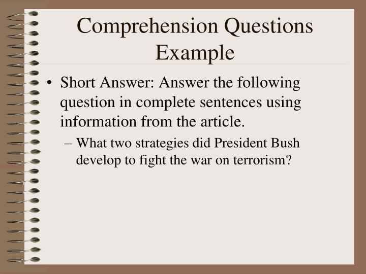 Comprehension Questions Example
